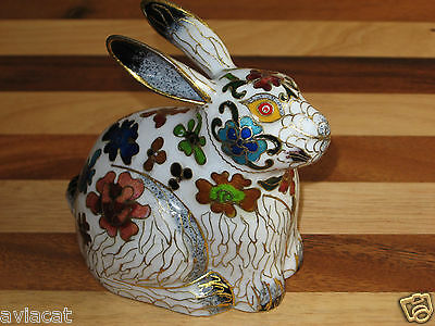 Rare 1970s Cloisonne Enamel - Cute Rabbit - Chinese Vintage Collectible Figurine