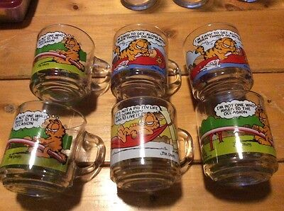 Vintage Set Of 6 McDonald's Garfield & Odie Glass Coffee Mugs