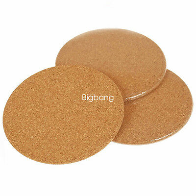 6 Pack Natural Plain Cork Coasters Round Circle Drink Cup Mat Hot Sale