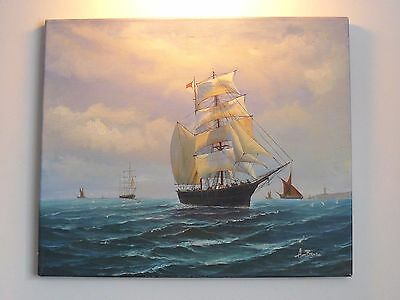 TALL SAILING SHIP Original Signed Large Nautical Oil on Canvas Painting Unframed
