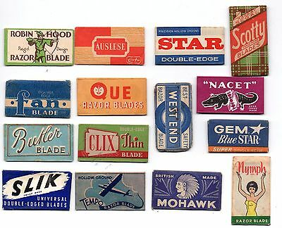 15 Very Old Razor Blade Covers, Packets