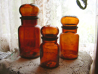 Set of 3 ViNTaGe RICH AmBeR ArT DeCo GLaSs Apothecary~Bottle Jars w/BALL LIDS