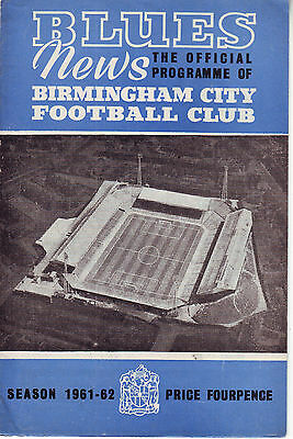 Birmingham City V R.c.d Espanol 7 Dec 1961 Inter Cities Fairs Cup Vgc