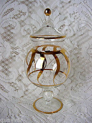 """ViNTaGe 10"""" ArT DeCo GLaSs GOLD SWiRL Footed Apothecary~Candy~Show Globe Jar~Lid"""