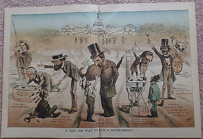 Classic Puck Magazine Cartoon of Rutherford B. Hayes and His Cabinet Members