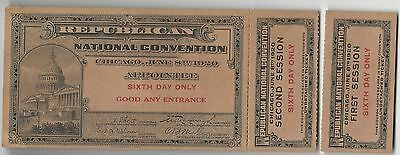1920 Repub Natl Convtion 6th Day Appointee Ticket/Stubs Nominated Warren Harding
