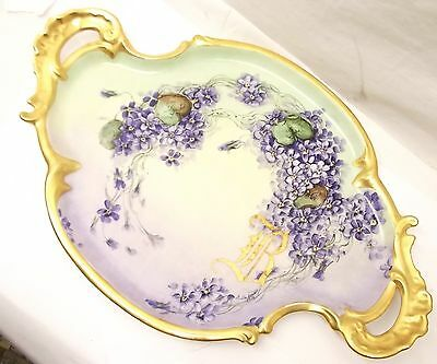 Vtg T&V Limoges Porcelain Serving Platter Hand Painted France Plate Art Nouveau