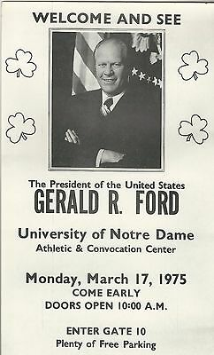President Gerald Ford St. Patrick's Day Event Flier at Notre Dame University