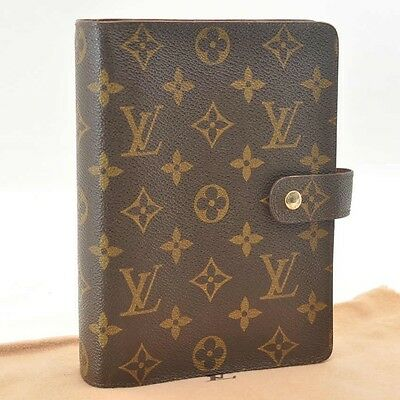 Authentic  Louis Vuitton Monogram Agenda MM Day Planner Cover R20105 #SS332