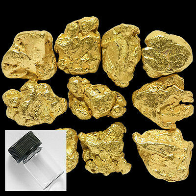 10 Pieces Alaska Natural Gold Nuggets with BOTTLE - FREE SHIPPING (#316f)