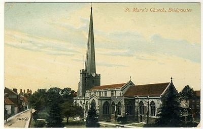 BRIDGWATER - St Mary's Church - 1913 used Somerset postcard - Valentine's #35085