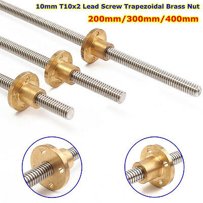 10mm T10x2 Lead Screw Threaded Rod Trapezoidal ACME Stepper With Nut 200 300 400