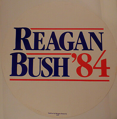 1984 Large Round Reagan Bush Presidential Campaign Sign or Poster