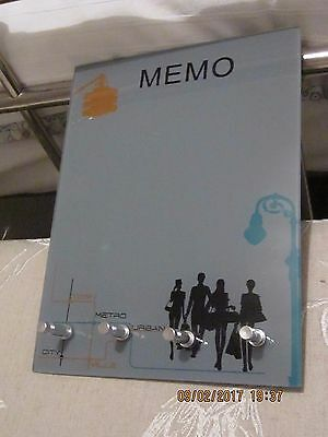 Glass wall memo board with chrome holders, new