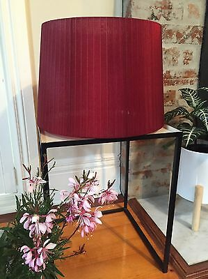 Lucci Decor Table Lamp Shade Red Silk Pleated