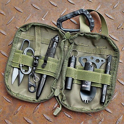 EDC Set Everyday Carry Survival Feuerstarter Bushcraft Brieftasche Patch Prepper