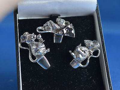 3 Silver Plated Cheese Mice Boxed (for labelling cheese )