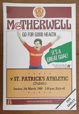 Motherwell V St. Patrick's Athletic (Friendly) Football Programme 5-3-1989