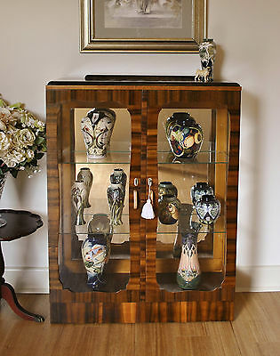 Elegant Antique Walnut Art Deco Mirror Back Display / Crystal /China Cabinet