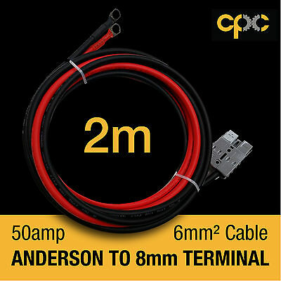 50A Anderson Plug type Battery Ring Terminal 2m Cable lead AMP Lug 12v 4x4 solar