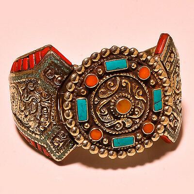 Turquoise With Red & Yellow Coral Dazzling Looks Tibetan Silver Jewelry Cuff