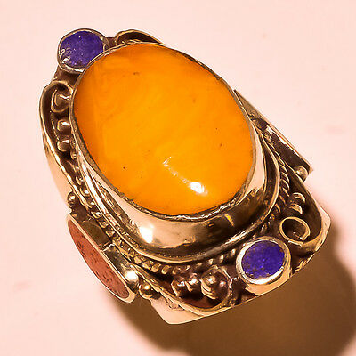 Red & Yellow Coral With Lapis Lazuli Tibetan Silver Jewelry Ring Size 10''