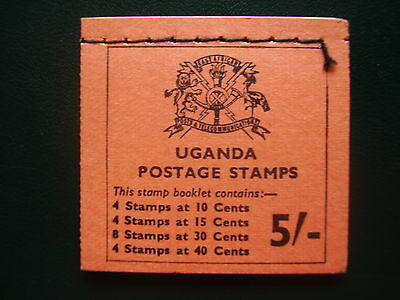 UGANDA FLOWERS LEFT  HAND STITCHED BOOKLET 5/- of 1971TYPE SB6 MINT COMPLETE.