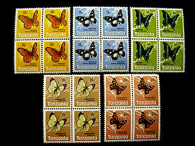 TANZANIA 1973 BUTTERFLY DEFINITIVES PART SET FIVE values to 30c BLOCKS x 4 MNH.