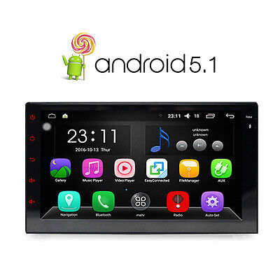 "Android 5.1 Double 2 DIN 7"" Car Stereo GPS Sat Nav DAB+ WiFi AM/FM Radio Mirror"