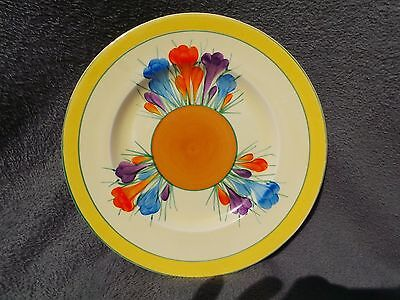 """Clarice Cliff Royal Staffordshire - Crocus Pattern Side Plate 9"""" 1930s Art Deco"""
