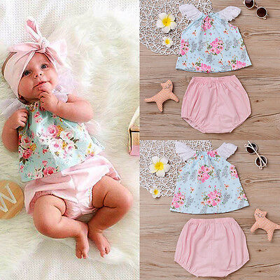 Newborn Kids Baby Girl Clothes Lace Floral T-shirt Tops+Pants Shorts Outfits Set