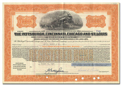 Pittsburgh, Cincinnati, Chicago and St. Louis Railway Company Bond Certificate