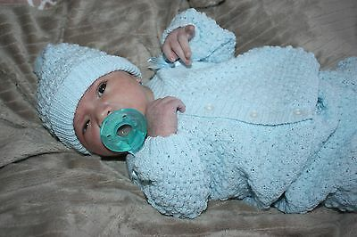 ADORABLE BOY Knit Baby Doll Outfit For Reborn BLUE