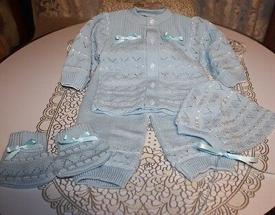 DARLING Fine Delicate Knit Baby Doll Outfit For Reborn BLUE