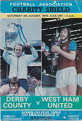 1975 Charity Shield Official Programme Derby County v West Ham United 9/8/75.