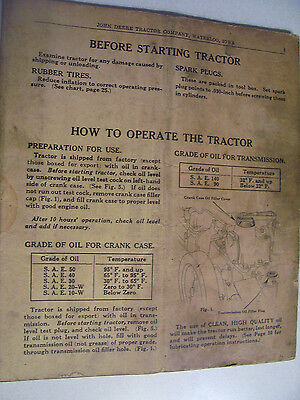 Vintage  John Deere Operators Manual -Model H  Tractor