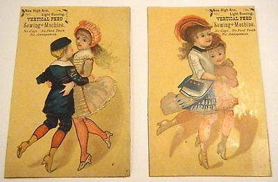 2 Vertical Feed New High Arm Sewing Machine Trade Cards, Davis Machines