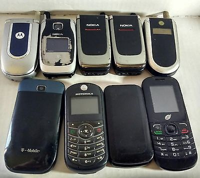 Lot of 9 cell phones for parts or repair