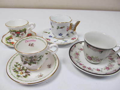 4 Miniature Porcelain Tea Cups With Saucers Different Models
