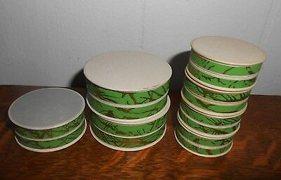 7 VINTAGE 20's DECO PHARMACY APOTHECARY UNUSED ROUND PILL BOXES PAPER GREEN