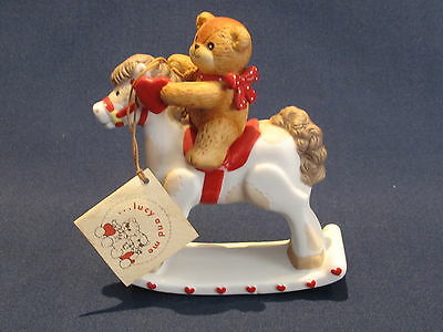 Vintage Lucy & Me Bear on Rocking Horse Figurine 1980 w/Tag ~ Mint