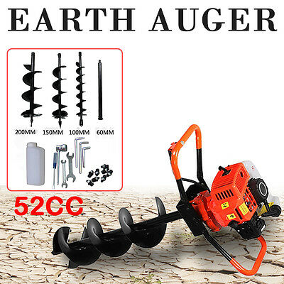 52cc Petrol Earth Auger 2HP Post Hole Borer Ground Drill with 3 Bits + Extension