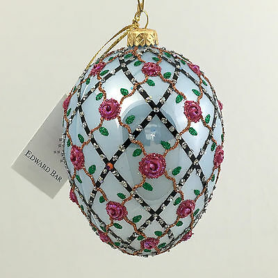 Blue egg-ROSES ON THE TRELLIS- glass Christmas ornament Hand-made in Poland