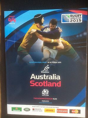 Australia V Scotland Rugby World Cup Programme Quarter Final Twickenham 2015.