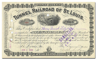 Tunnel Railroad of St. Louis Stock Certificate (Rare, Issued)