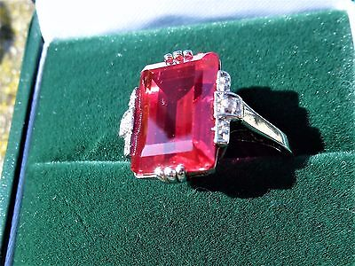 18ct White Gold Period Art Deco 3.6ct Ruby and Diamond ring. Statement!