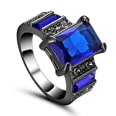 Anniversary Women Mens Blue Sapphire 10K Black Gold Filled Halo Ring Gift Size 6