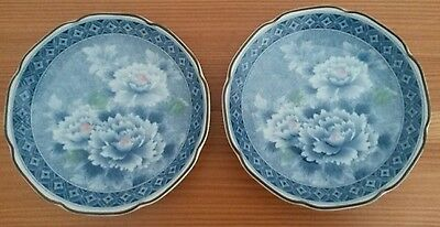 Pair Japanese Fine Porcelain China Shallow Plate Dish Blue Floral Design