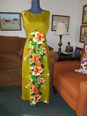 VINTAGE Penneys Hawaii 1960s pop psychedelic sleeveless maxi dress floral sz L