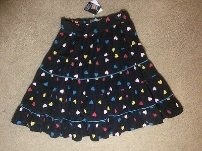 Pumpkin Patch Black Cord Skirt With Heart Print Size 7 Brand New With Tags